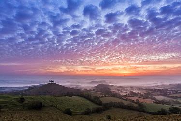 Sunrise over Colmer's Hill, Bridport, Dorset, England, UK. September 2011.