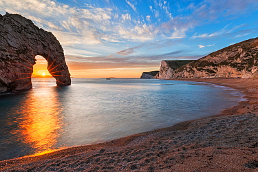 Durdle Door and Bats Head at sunset, Jurassic Coast, Dorset, England, UK. December 2014.