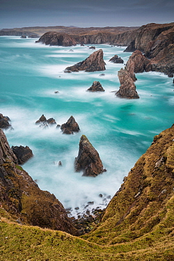 Sea Stacks at Mangurstadh, Aird Feinis, Isle of Lewis, Outer Hebrides, Scotland, UK. March 2015.