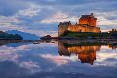 View across Loch Duich to Eilean Donan Castle, Kyle of Lochalsh, Highlands, Scotland, Uk. July 2012.
