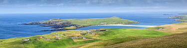 Shetland coastline with tombolo connecting to St Ninian's Isle, Shetland Isles, Scotland, UK. August 2014.