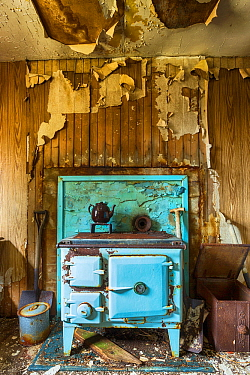 Stove in abandoned cottage, Isle of Harris, Outer Hebrides, Scotland, UK. March 2014.