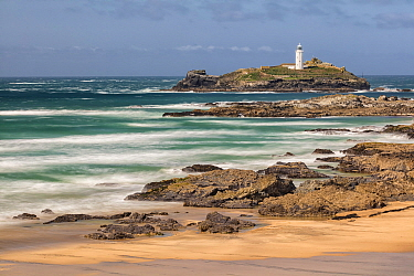 Godrevy Beach with Godrevy Lighthouse in background, St Ives Bay, Cornwall, England, UK. September 2017.