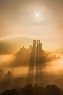 Corfe Castle in morning mist, Corfe, Isle of Purbeck, Dorset, England, UK. September 2013.