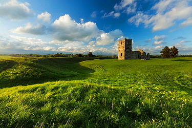 Neolithic earthworks and Knowlton Church, Dorset, England, UK. May 2014.