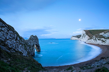 Durdle Door by moonlight, Jurassic Coast, Dorset, England, UK. December 2014.
