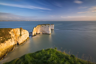 Old Harry Rocks from Ballard Down, Swanage, Isle of Purbeck, Dorset, England, UK. December 2014.
