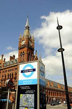 Barclays Cycle logo at King's Cross with St. Pancras Station, London Borough of Camden, England, UK, July 2013.