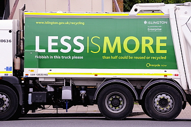 Waste Vehicle with recylcing slogan printed on the side in an effort to get people to recycle, London Borough of Islington, UK