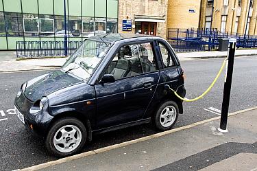 Electric car recharging at an Elektrobay Electric Vehicle Recharging Site in an urban street, London Borough of Islington, England UK