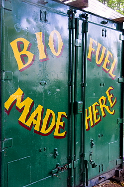 Shipping container with Bio Fuel Made Here printed on the doors, Hackney City Farm, London UK