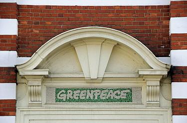 Sign above Greenpeace office, Canonbury, Borough of Islington England, UK