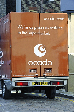 Back of an Ocado van saying - We're as green as walking to the supermarket - Hampstead, London, England, UK