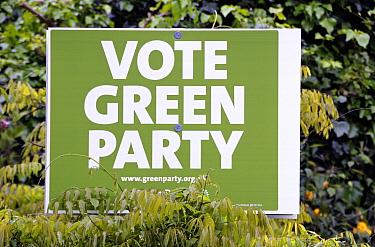 Vote Green Party banner amongst greenery, London Borough of Richmond upon Thames