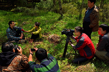 Wildlife photographer Jed Weingarten being interviewed by Sichuan TV, Tangjiahe National Nature Reserve, Qingchuan County, Sichuan province, China