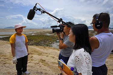 Secondary school student interviewed by TV channel about the release of juvenile Chinese horseshoe crabs (Tachypleus tridentatus) that have been artificially-bred by City University of Hong Kong, and...