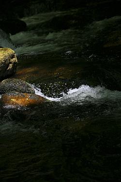Shaft of light on splashing water.