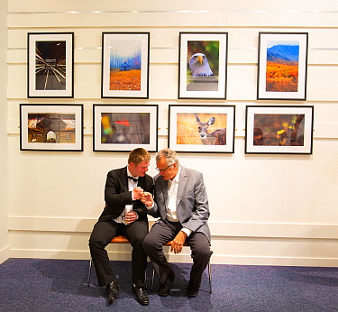 Oliver with Ken Jenkins at their joint exhibition, T5 Gallery Heathrow Airport, July 2018