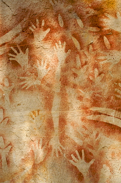 "Aboriginal rock art with many human hands, at a site called ""The Art Gallery"", Carnarvon Gorge, Carnarvon National Park, Queensland, Australia"