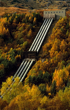Hydroelectric power at Inveruglas in autumn. Loch Lomond, Strathclyde, Scotland.
