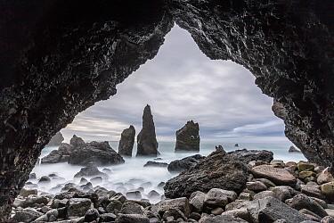 Sea Stacks and cave, Reykanesta, Reykjanes Peninsula, Iceland. March 2017