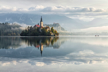 Church of the Assumption of St. Mary, Bled Island, Lake Bled, Slovenia, October 2014.