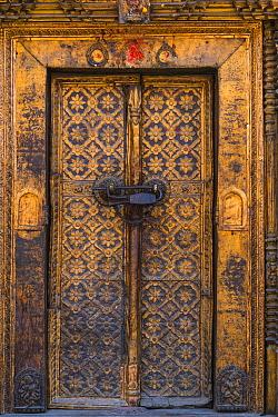 Door at Malla's Royal Palace, Bhaktapur Durbar Square Complex, Durbar Marg, Lalitpur Metropolitan City, Kathmandu Valley, Nepal. February 2018.