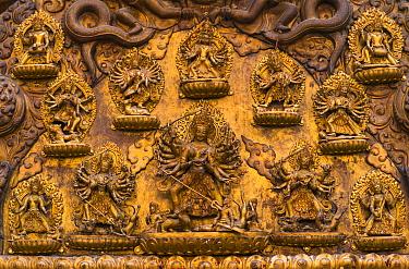 Detail on wall of Malla's Royal Palace, Durbar Marg, Patan, Lalitpur Metropolitan City, Kathmandu Valley, Nepal.