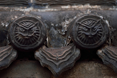 Tiger or owl faces in roof tiles. Details from the Yong An Si temple, now a museum, Beiyue Hengshan Mountain, Datong, Hunyuan County, Shanxi Province, China