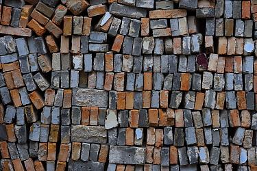 Used bricks stacked up for re-use. Beiyue Hengshan Mountain, Datong, Hunyuan County, Shanxi Province, China