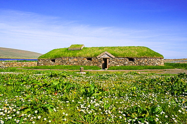 Replica of Norse Viking longhouse at Brookpoint, Unst, Shetland Islands, Scotland, UK, May 2018