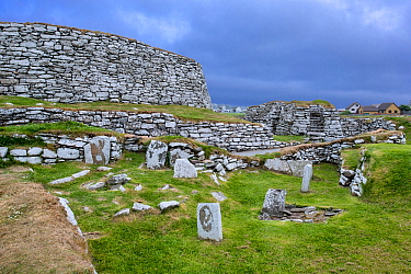 Broch of Clickimin, restored broch or roundhouse in Clickimin Loch, Lerwick, Mainland, Shetland Islands, Scotland, UK, 2018