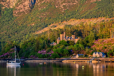 Duncraig Castle in evening light, mansion in Lochalsh along the shore of Loch Carron near Plockton, Ross and Cromarty, Scottish Highlands, Scotland, June 2017