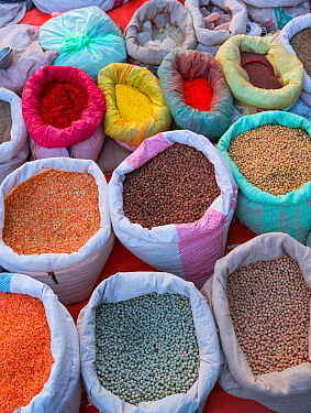 Local market with pulses and spices, Chitwan National Park, Inner Terai lowlands, Nepal. February 2018.