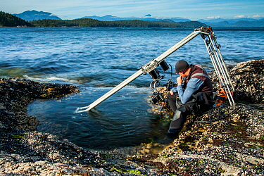 Specialist motion control rig to film underwater timelapse in a rockpool for BBC Blue Planet II, Vancouver island, British Columbia, Canada. July.