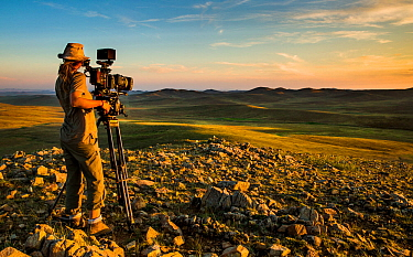 Camera operator Sue Gibson, working in steppe grasslands, Altanbulag, Mongolia, July 2017.