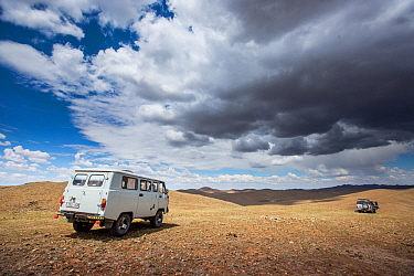 Vans driving in the Mongolian steppe whilst searching for Pallas' cat (Otocolobus manul), on location for Big Cats series. Altanbulag, Mongolia, June 2017.