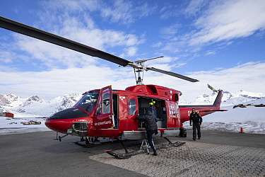 Air Greenland helicopter used for Kulusuk to Tasiilaq flights. East Greenland. April 2018.