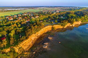Aerial view of Baltic Sea coast and Baltic Klint cliffs in morning light. Harjumaa, Northern Estonia. May 2018.