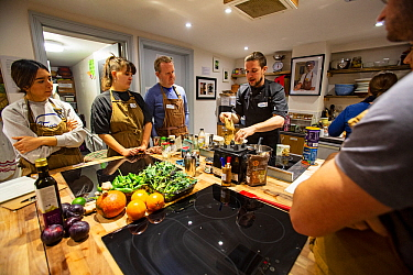 Vegan cooking course at Made In Hackney Plant-based community cooking school. London, England, January.