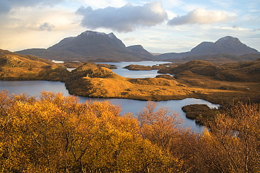 Mountains of Assynt and Loch Sionasgaig, Sutherland, Scotland, UK, November 2016.
