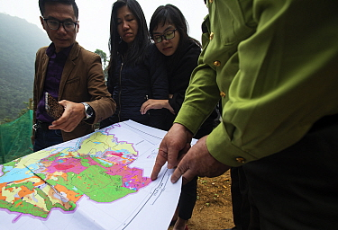 Fauna and Flora International Staff and government official looking at the site of a new reserve to protect a new population of critcally endangered Delacour's langurs (Trachypithecus delacouri) Kim B...