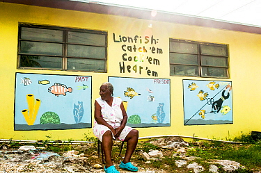 Mural painted on the side of a small grocery store on Eleuthera Island, Bahamas depicting how the fate of the Bahamian fishery is tied closely to that of the invasive lionfish (Pterois volitans). Eleu...