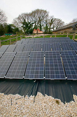 Solar panels in Down to Earth environmental project, way of creating sustainable energy, Murton, Gower, South Wales, UK 2009