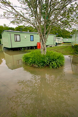 Flooded caravan site in Dol y bont after River Leri from 5 inches of rain in 2 days 10th June 2012, Ceredigion, Wales, UK