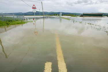 Road from Borth to Talybont flooded by River Leri, Ceredigion, Wales, UK, June 10th 2012