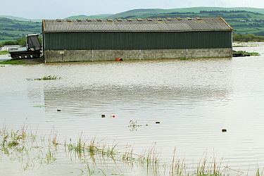 Flooded agricultural land with building and soft track machine, in Talybont caused by 5'' rain in 2 days and subsequent bursting of banks of River Leri , June 10th 2012, Ceredigeon, Wales, UK