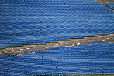 Very large Solar panel farm, aerial view, Somerset, England, UK, 9th January 2014.