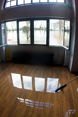 Flooded interior of wine bar / restaurant during clear up after February 2014 floods, Worcester, England,  UK, 10th February 2014.