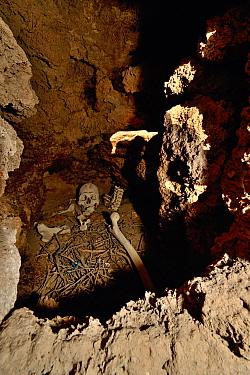 Human remains inside a Chullpa / funeray tower. Ceremonial tomb from between 1200-1450 AD, San Juan del Rosario, Bolivia.